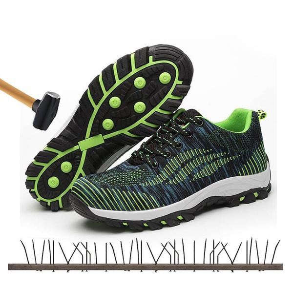 Zapatillas de seguridad para hombre de trabajo al aire libre con protección antirresbaladiza puntera de acero antirresbaladiza puntera resistente al trabajo de los hombres zapatos