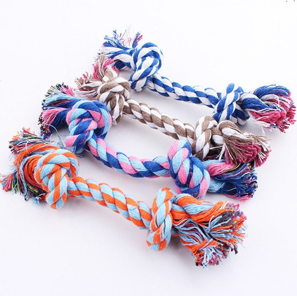 best selling New17CM Dog Toys Pet Supplies Pet Cat Puppy Cotton Weaved Chews Knot Toy Durable Braided Bone Rope Funny Tool