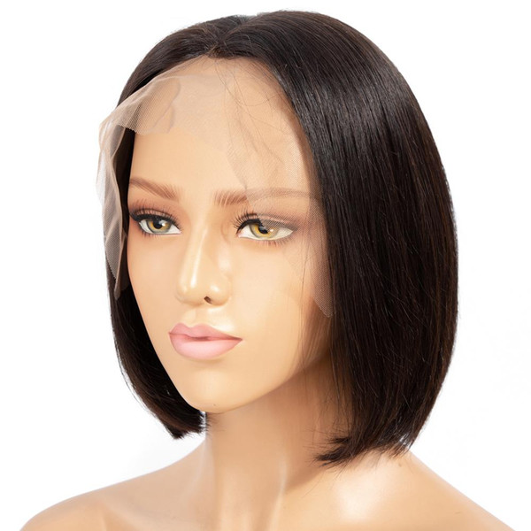 Parrucche frontali in pizzo Parrucche brasiliane Parrucche dritte Senza lacci Pre-pizzicato Attaccatura dei capelli Parrucca corta per capelli Remy di colore naturale