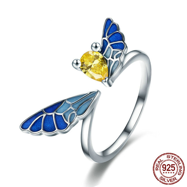 New Trendy 925 Sterling Silver Open Butterfly Fairy Rings for Women Girls Gift Statement Jewelry Adjustable Size Finger Ring