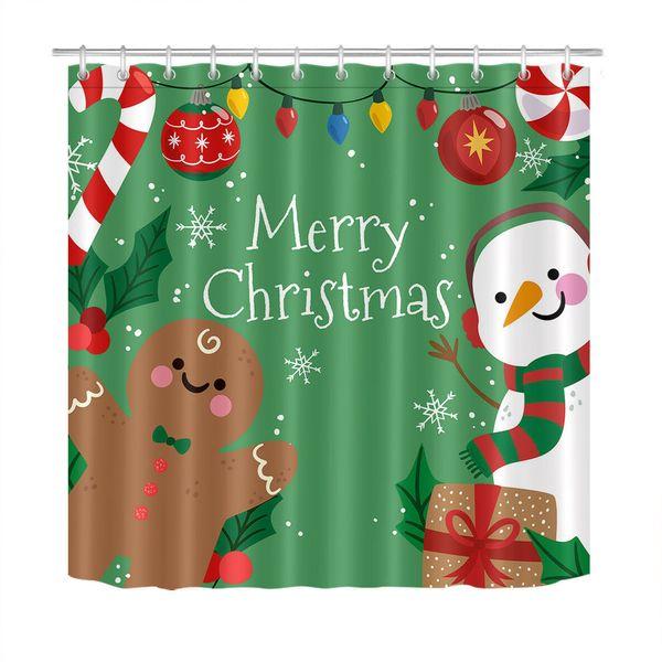 "Gingerbread Man Shower Curtain Bathroom Waterproof Polyester Fabric /& Hooks 71/"""