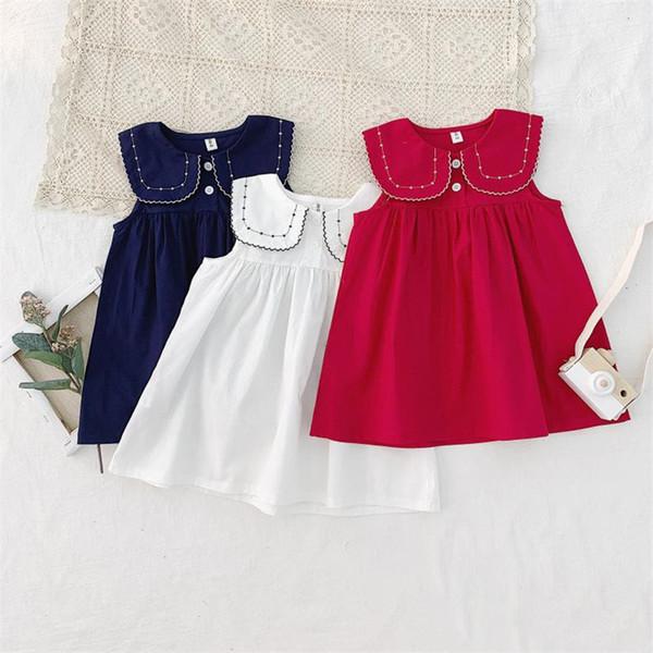 3 Colors New Summer Girls Desses Sleeveless Turn Down Collar Blank Red Blue Beige A-line Organic Linen Cotton Fabric Little Girls Clothing