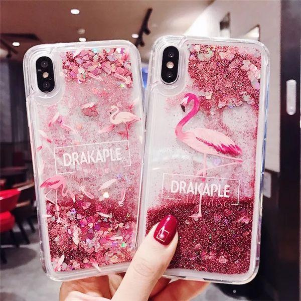 Flamingo liquido quicksand Apple iPhone xs / max7plus cassa del telefono 6S anti-wrestling femminile 8p silicone manica soft shell ragazza
