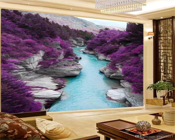 Home Decor 3d Wallpaper Fantasy Landscape Purple Flowers Sea Living Room  Bedroom Background Wall Decoration Mural Wall Paper Top Rated Wallpapers  High ...