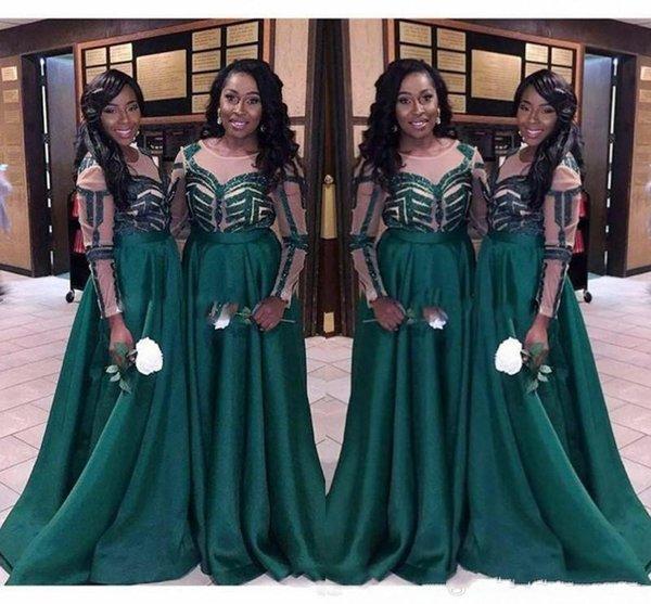 Sexy africana vestidos largos de dama de honor baratos 2019 con mangas Cuello de satén acanalado país Bridesmaids Prom vestido de fiesta por la noche