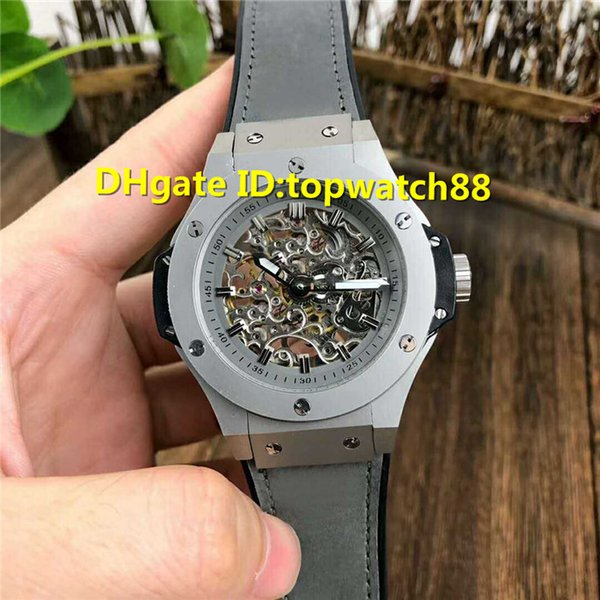 Hot Sale mens designer watches Skeleton Dial Swiss Automatic Sapphire Crystal Ceramic Case calfskin strap Men Wristwatch
