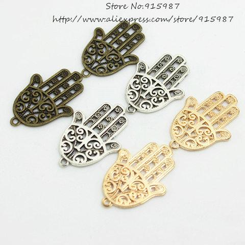 Sweet Bell Free shipping 120pcs/lot 24*35mm Three color Metal Alloy Hand of Fatima Charms Jewelry Hand Charms D0636