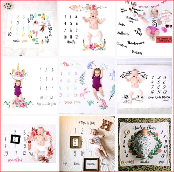 20 types Newborn baby milestone blankets photography background props baby photo backdrops infant letter flower unicorn blankets