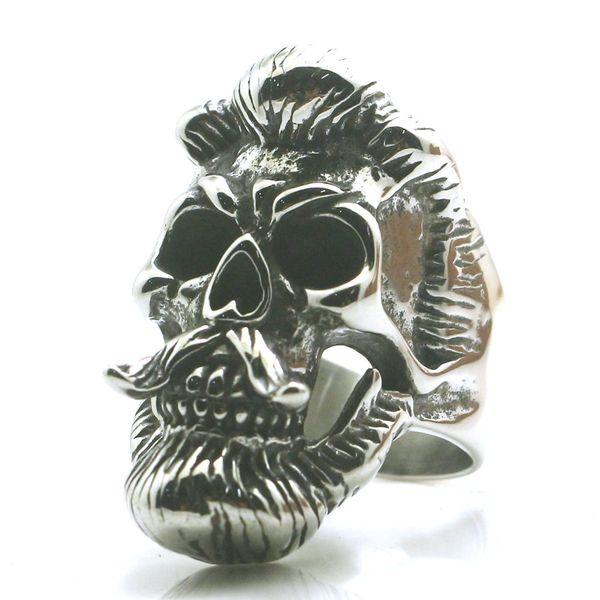Tamanho 7 para Tamanho 15 Mens Meninos Aço Inoxidável 316L Cool Beard Vikings Crânio Mais Novo Anel