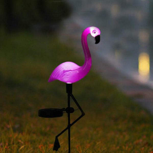 Lampe à éclairage solaire de jardin à piquets de décoration de pelouse de décor de pelouse de flamant rose
