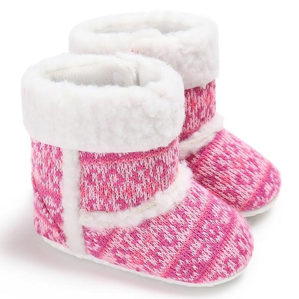 Zapatos de bebé elegantes Botas antideslizantes Suela blanda Botas de lana de algodón Zapatos gruesos y cálidos de invierno Moda para niños pequeños