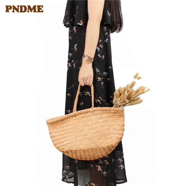 PNDME luxury fashion handmade woven genuine leather ladies tote simple handbags soft first layer cowhide women's shopping bag