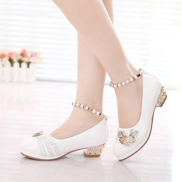 girls shoes 2019 spring princess black white party formal pearls pink faux leather Footwear for girls 10 year old big size 26-37