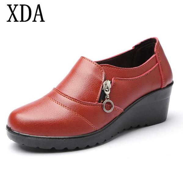 Designer Dress Shoes XDA 2019 Women COMFORT MOTHER New Autumn Soft PU Leather Platform Woman Zip Low Wedges Size Plus 35-41 F772