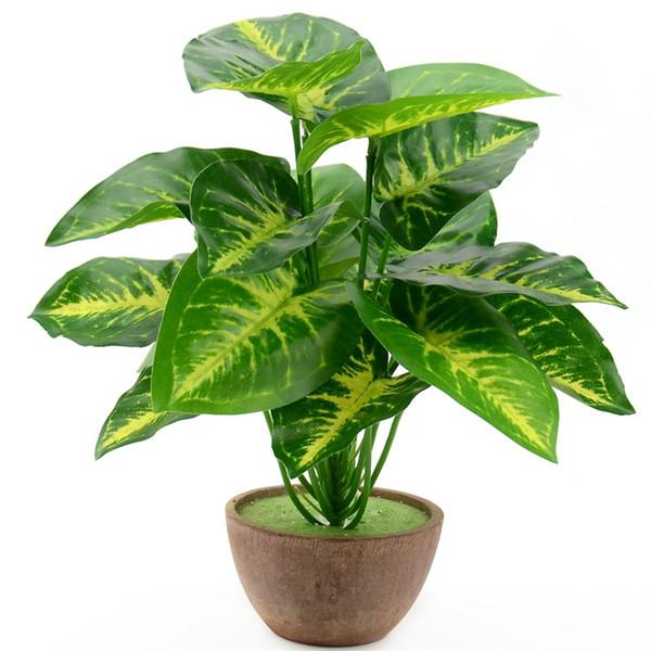 1Bunch / 18 Blätter der Kunstseide-Grün Scindapsus Aureus Blatt für Hochzeit Dekorationen Gefälschte Bonsai-Baum Pflanze Zubehör