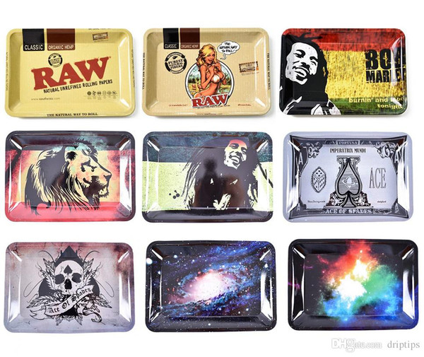 top popular RAW Bob Marley 180*125*15mm Tobacco Rolling Metal Tray Handroller Roll Case 11 Styles Smoking Accessories Grinder Roller Over 50Pcs DHL 2021