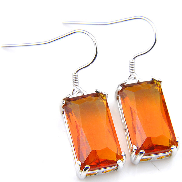 Wholesale 3 Pairs / Lot Classic Earrings for Women Brazil citrine Gemstone Silver Earrings charms Earrings Jewelry Size 15*8 mm