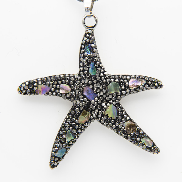 Black Rhinestone Clay Pentagon Octopus Pendant Chain Necklace with Natural Pearl Shell Couture Jewelry Valentine Gifts for Women Wholesale