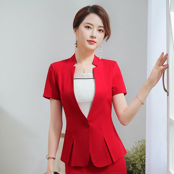 Women Blazer Office Lady Short Sleeve Suit Set V-Neck Collar Formal Work Career Wear OL Tops (Jacket + Skirt) Black / Red / Gray