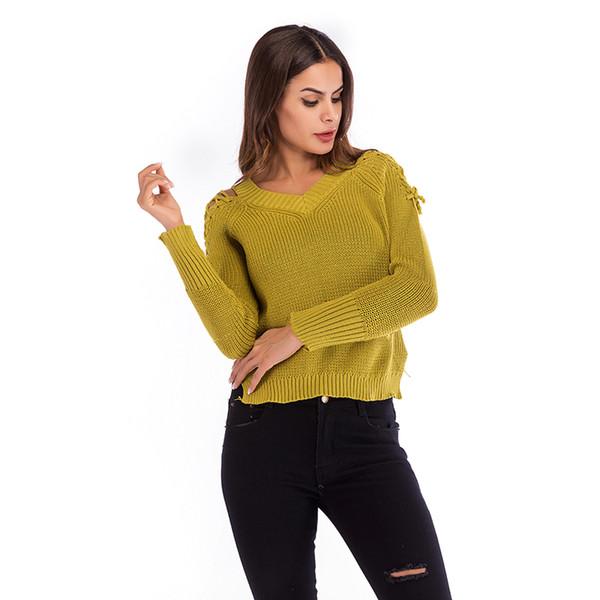2019 Automne Femmes Pull Pull Solide Jaune Coton Hauts Col En V À Lacets À Manches Longues Tricoté Pulls Tricots Pulls Dames