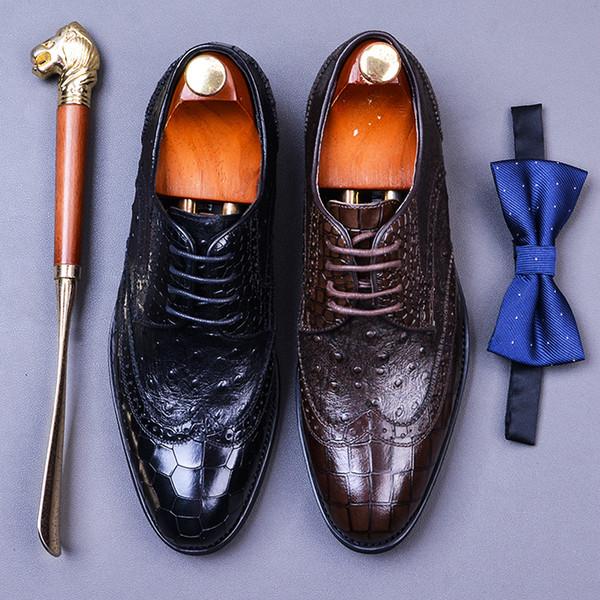 Zapatos Derby clásicos para hombres Zapatos genuinos de cuero de vaca con punta redonda con cordones Zapatos de cuero para hombres Zapato de vestir estampado con estampado de cocodrilo y avestruz