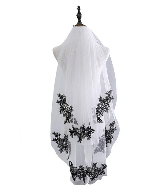 Best-selling Veilbridal Soft Tulle Black and White Lace Applique Mantilla Veils Bridal Wedding Veils with Comb 2 Tiers