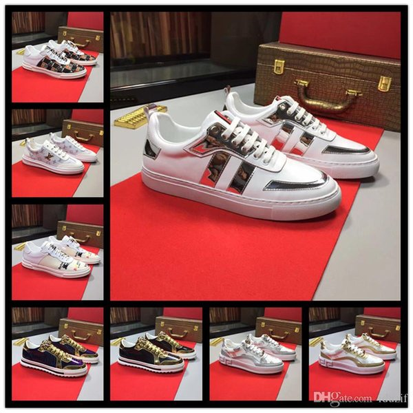Best NEW Luxury leather casual shoes Women Designer sneakers men shoes genuine leather fashion Mixed color original box