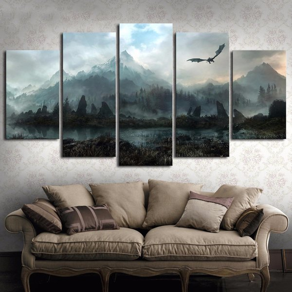 2019 Hd Wall Art Picture Game Of Thrones Dragon Skyrim Oil Painting Mural On Canvas For Living Room Decor From Shouya2018 18 79 Dhgate Com