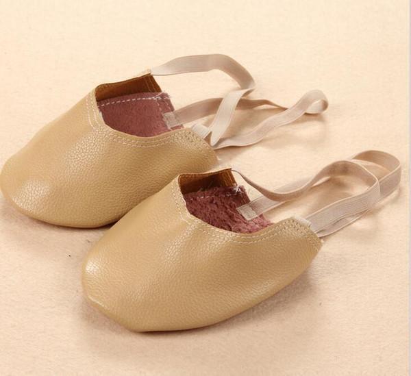 Girl Women Gymnastics Ballet Belly Dance Foot Thong Leather Dance Shoes Half Sole Nude Black White EU21-EU51 Fashion