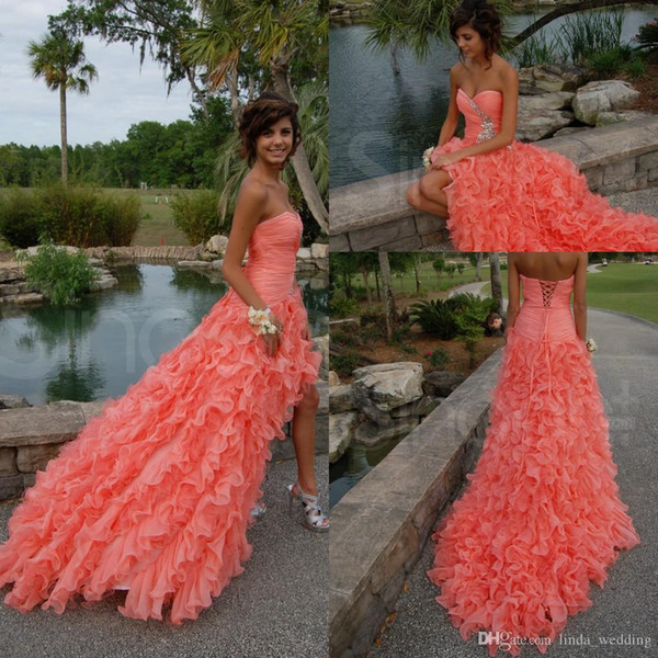 Free Shipping Sexy Long Coral Prom Dresses New Arrival Sweetheart Organza Beaded Side Split Prom Gown Evening Dresses Vestidos De Fiesta