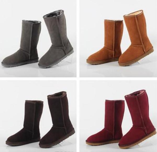 hombres del diseñador de fábrica de las mujeres botas de nieve clásico del estilo de vaca gamuza de cuero de invierno resistente al agua caliente las botas de la marca botas cortas