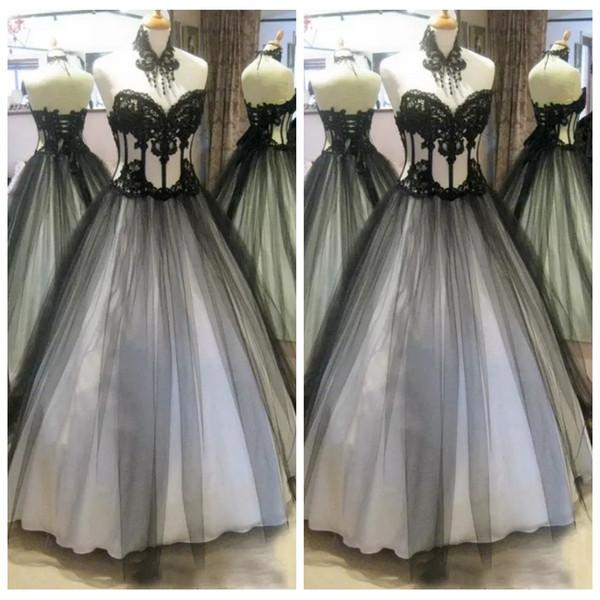 2019 black gothic wedding dresses lace appliques a-line bridal gowns custom lace up back floor length vestidos de marriage plus size - from $119.77