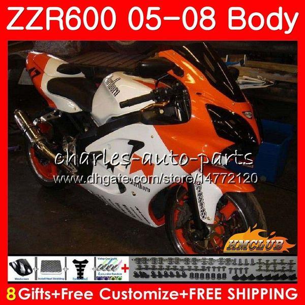 Karosserie Für KAWASAKI NINJA ZZR 600 ZZR-600 05 06 07 08 OEM Karosserie 38HC.172 ZX600CC 600CC ZZR600 2005 2006 orange weiß 2007 2008 Verkleidungssatz