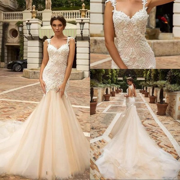 Glamorous Light Champagne Mermaid Castle Wedding Dresses Sweetheart See Through Back Appliques Beading Wedding Gown Tiered Robe De Mariee