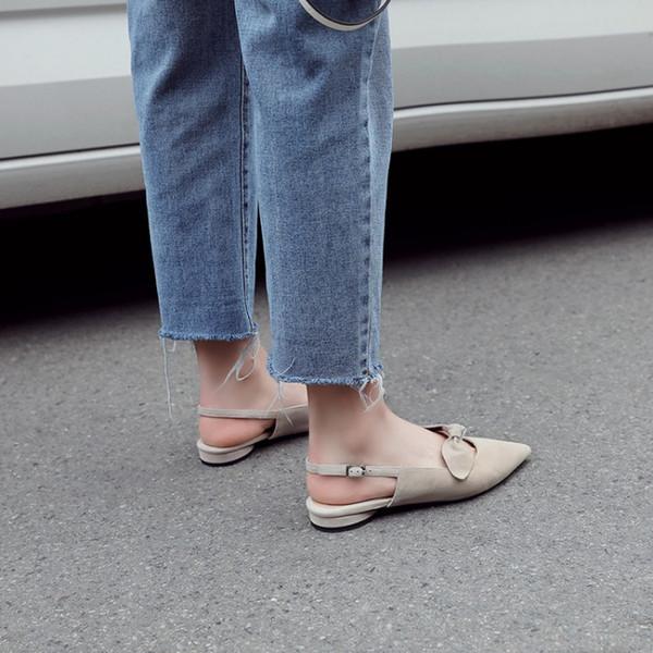 Big Size 9 10 Sommer flache Sandalen Damen Damenschuhe Frau Butterfly-Knoten Auslöser Sandalen mit dicken Absätzen
