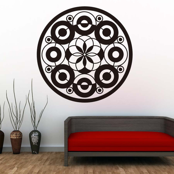 1 Pcs Modern Design Mandalas Flower Circles Wall Decals Removable Vinyl Wall Stickers For Living Room Home Decor