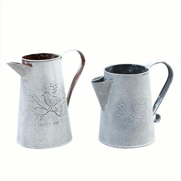 Creative Vintage Galvanisé En Métal De Fer Fleur Jardin Shabby Pot Vase Baril Planteur Décor De Bureau Fleurs Vase Pour La Décoration Intérieure