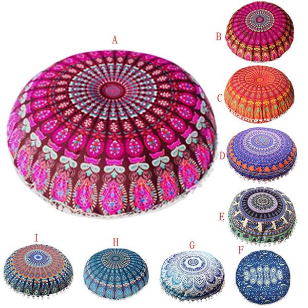 2019 Indian Mandala Pillows Round Bohemian Home Pillows Cover Case Cushions Pillow Case Poszewki Na Poduszki Funda Almohada