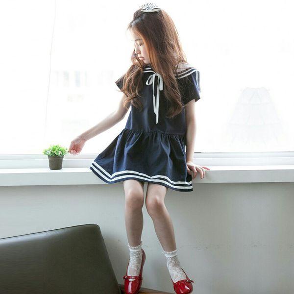 2018 Verano Nueva Chica Estilo Coreano Manga Corta Mini Vestido para Niños Sailor Collar de Una sola pieza Niñas Estilo Preppy Niños Ropa J190521