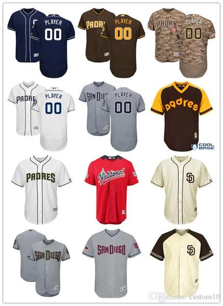 Hombres Mujeres Jóvenes San Diego Majestic Navy Alternativa Flex Base Colección auténtica Camisetas de béisbol personalizadas Padres
