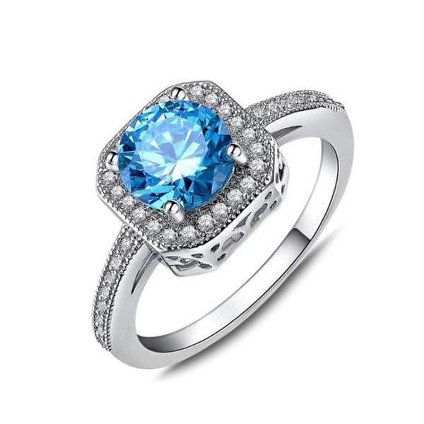 Women Lady Rings Europe and American Hot Sale Inlaid Blue Zircon Fashion Exquisite Diamond Ring Factory Direct Sales