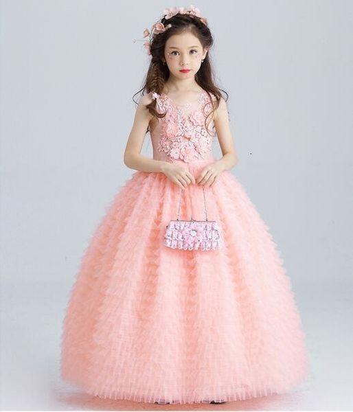 Luxo Rosa Tule Flor Menina Casamento Tornozelo Comprimento Apliques de Miçangas Festa de Crianças Vestido de Baile Primeira Comunhão VestidosMX190912MX190912