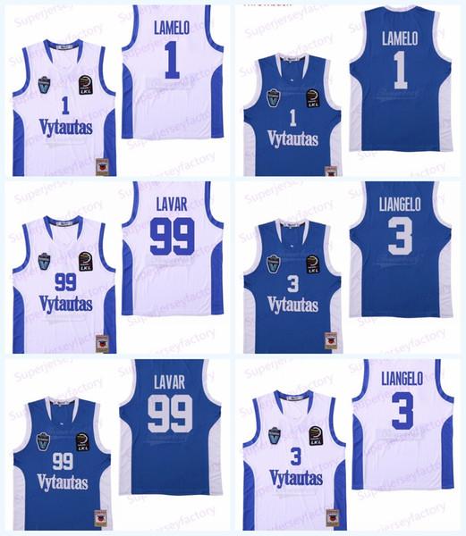 Homens Lituânia Prienu Vytautas Basketball Jersey 1 LaMelo Ball 3 LiAngelo Bola Uniform 99 LaVar Bola Tudo costurado Azul Branco Fast Shipping