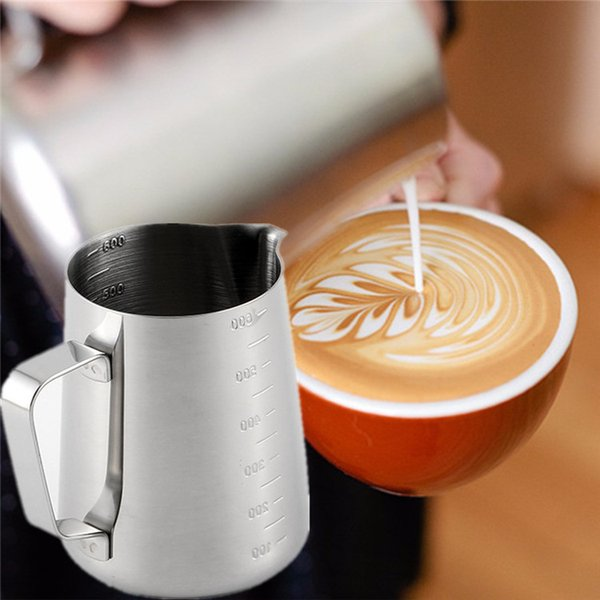 350ml/600ml 304 Stainless Steel Coffee Frothing Pitcher Pull Flower Cup Tip Mouth with Scale Latte Art Milk Frother Cappuccino Coffee Tools