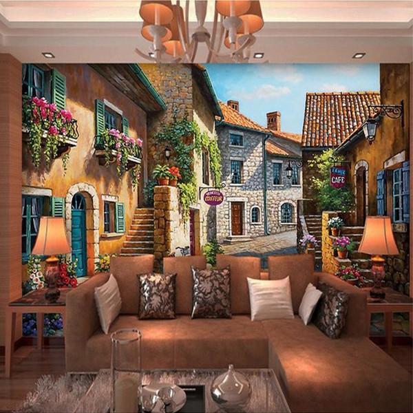 Пользовательские 3D фото обои европейский город пейзаж фреска Обои Декор Гостиная Спальня наклейки обои Papel де Parede 3D