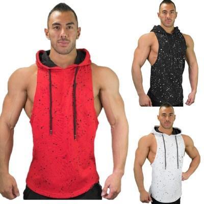 Новые мужские печатных фитнес футболки хлопок баскетбол работает спортивный жилет для мужчин камуфляж повседневная рукавов балахон черный белый с капюшоном тройники
