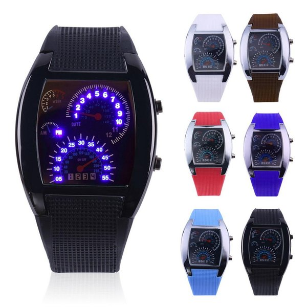 2018 Pop Fashion Sports Aviation LED Electronic Watches Fan-shaped racing instruments Creative Watches Male Wholesale