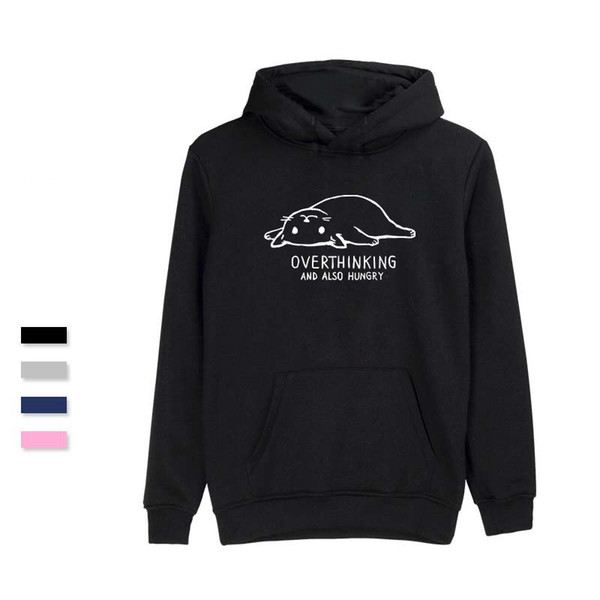 OVERTHINKING AND ALSO HUNGRY Hoodies Winter Casual Popular Sweatshirts Men Soft Cool Fashion Anime Sweatshirt Vogue Clothes T5190605