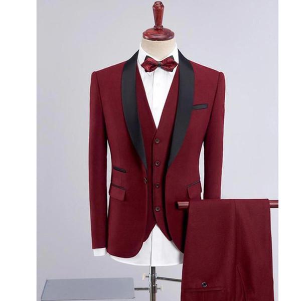 Темно-красный Groom смокинги для мужчин сшитого Жениха костюмы Шаль мужского нагрудных Костюмов свадебных 3 шт свадебных костюмов куртки + штаны + жилет