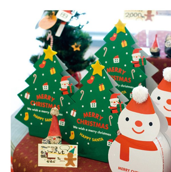 2019 Christmas White Red Scarf Hat Snowman christmas tree Candy Boxes Biscuits Boxes for Baking Decoration Package